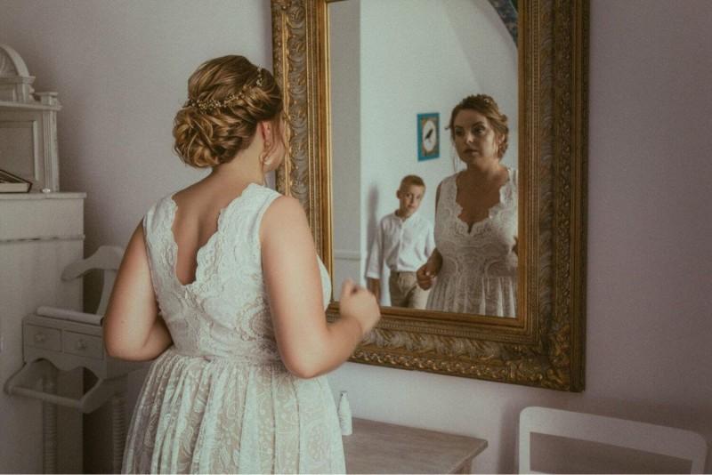 Suknia ślubna w stylu boho Porto 45 z cielista podszewką.