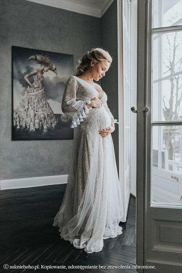 anna skura w ciąży w sukni ślubnej boho