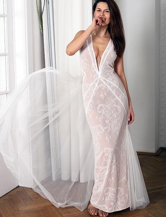 boho suknia ślubna dopasowana