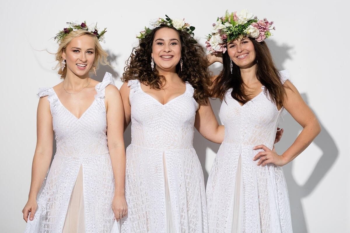 panny młode w sukni ślubnej w róznych rozmiarach - xs, m, plus size