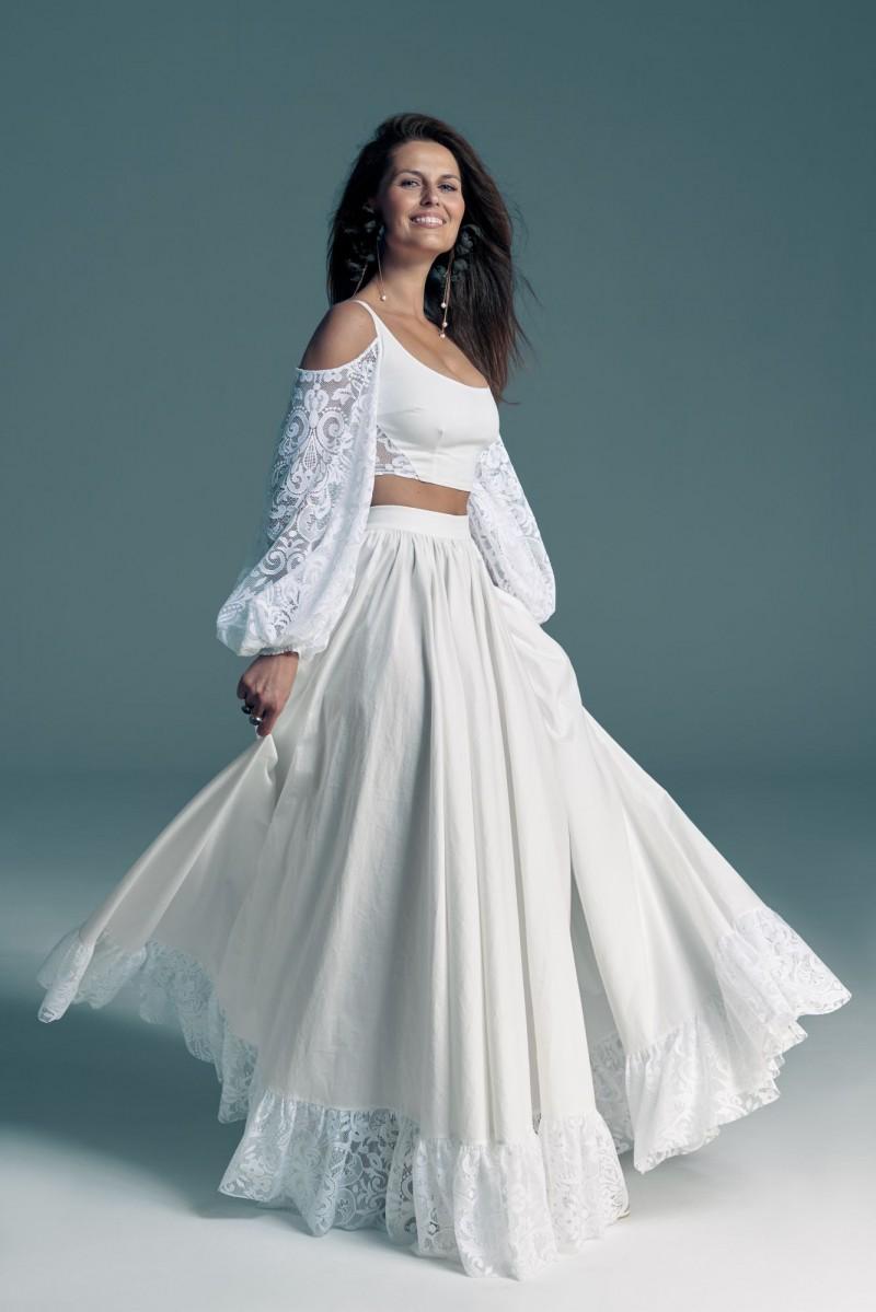 Ekologiczna suknia ślubna z bufiastymi rękawami - komplet