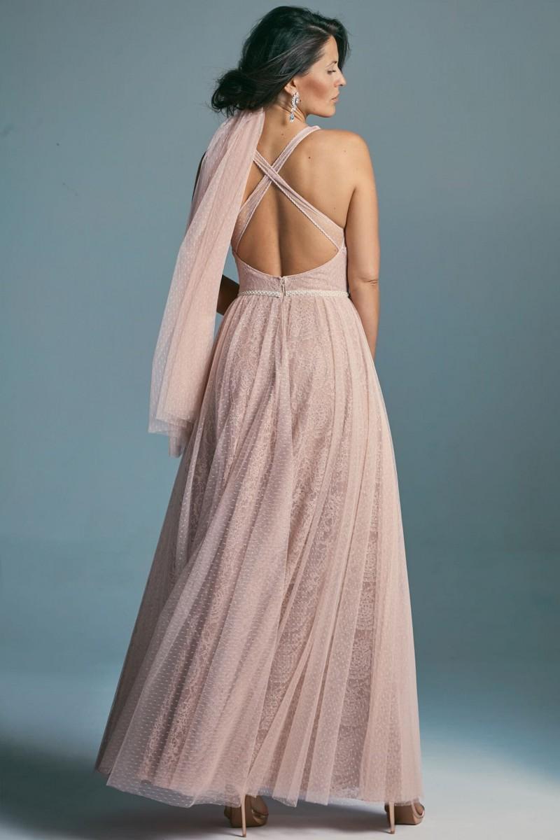 Brzoskwiniowa suknia ślubna
