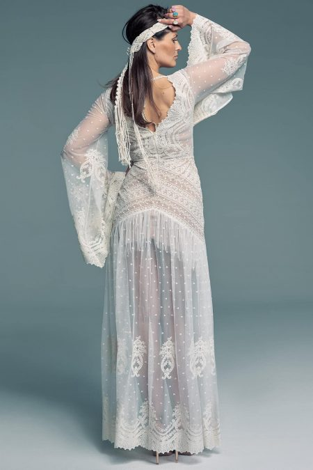Suknia ślubna lata 80 w stylu hippie