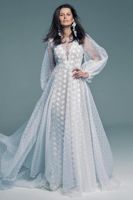 Suknia ślubna z pięknego tiulu w groszki