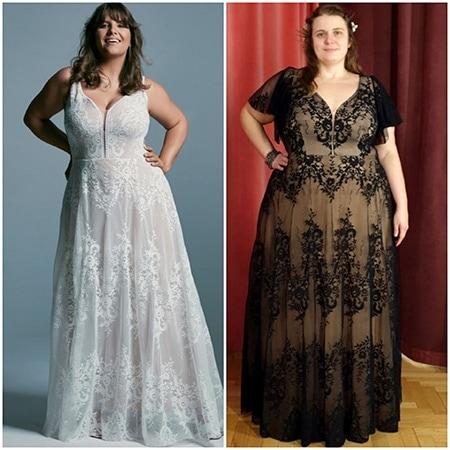 ten sam krój sukni ślubnej uszyty w innej koronki