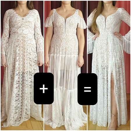 ten sam model sukni ślubnej ze zmienionymi dołami