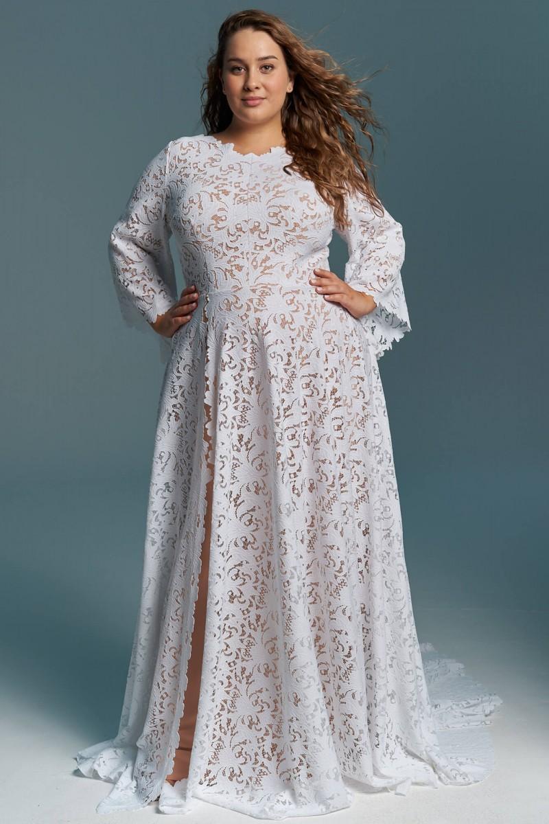 Muzułmańska, zabudowana suknia ślubna