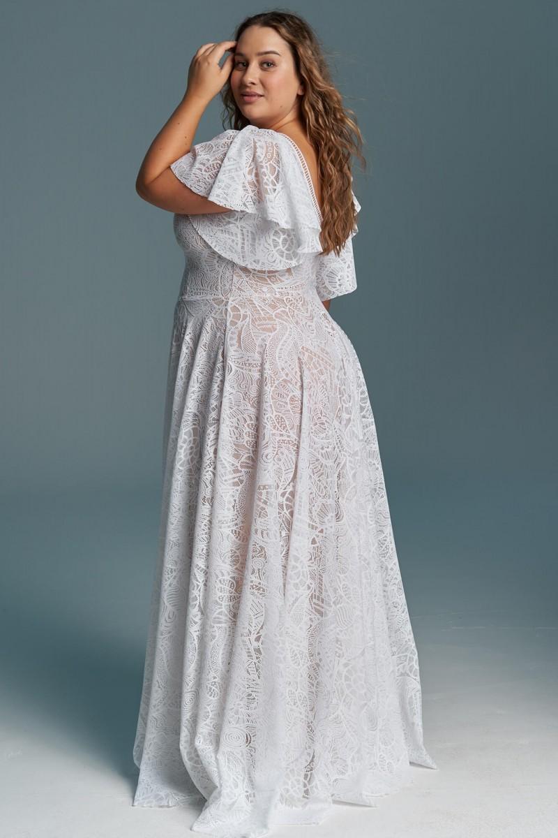 Suknia ślubna z krótkimi rękawami i rozporkiem