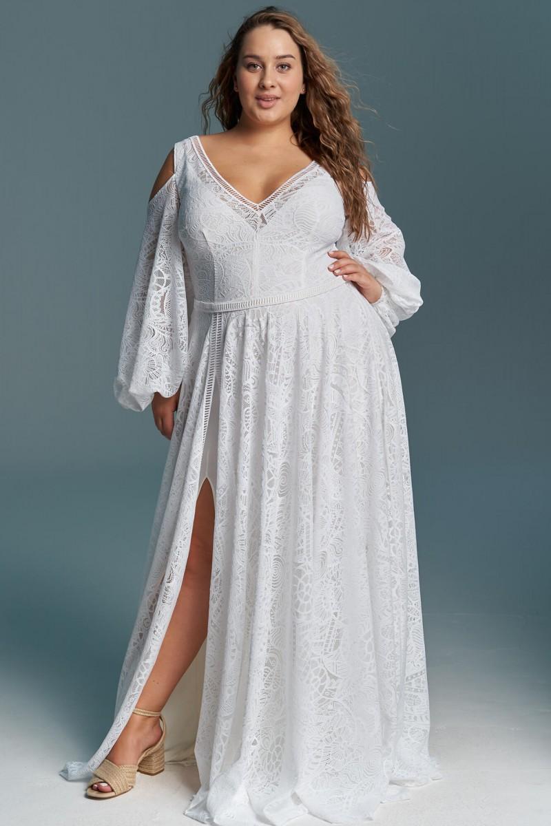 Suknia ślubna z szerokim rękawem