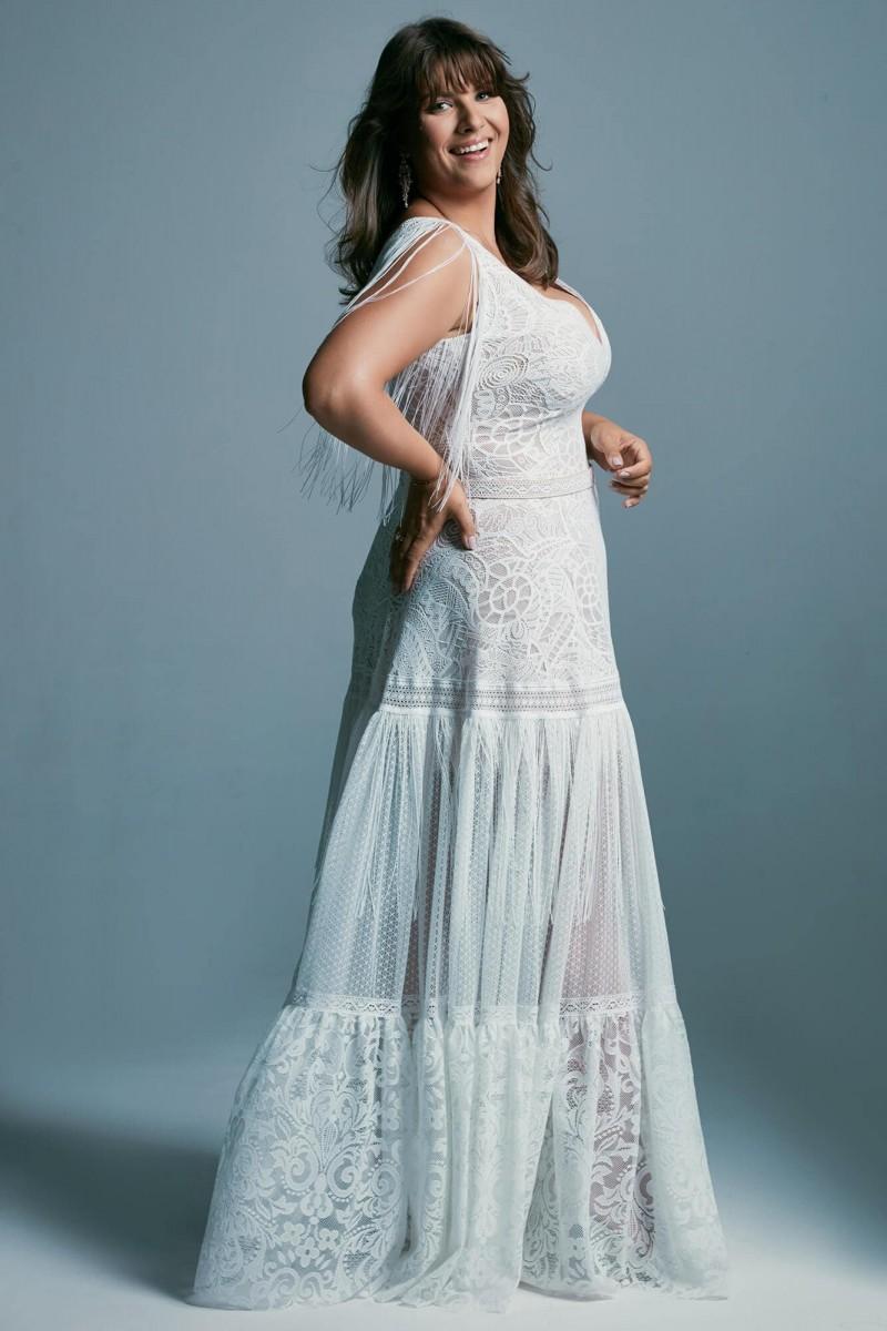 Patchworkowa suknia ślubna plus size