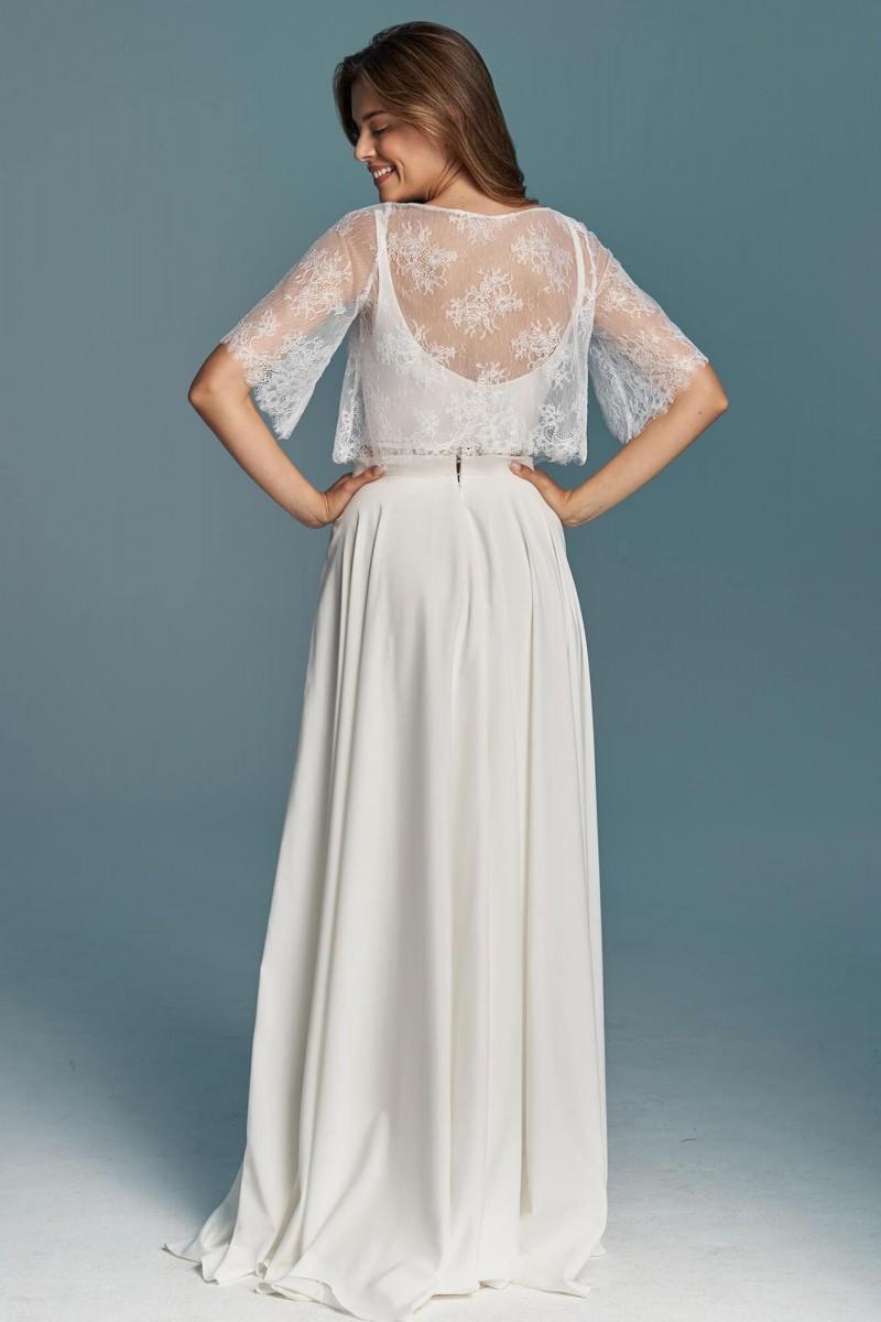 Gładka dwuczęściowa suknia ślubna z szyfonu