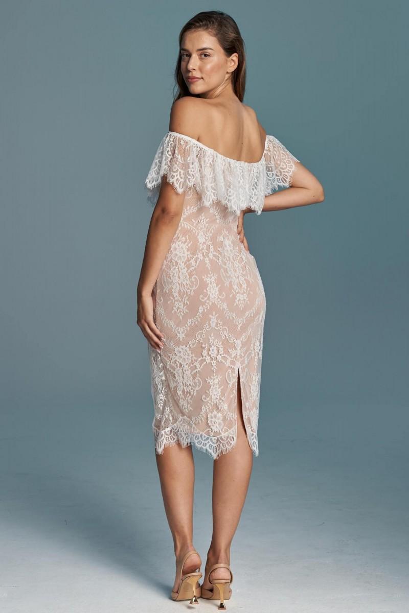Przepiękna koronkowa krótka suknia ślubna
