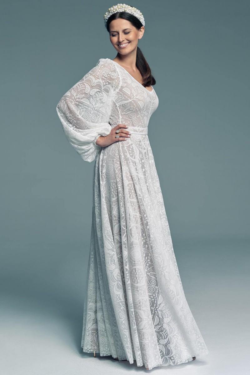 Suknia ślubna z luźnym rękawem dla Pań chcących ukryć ramiona