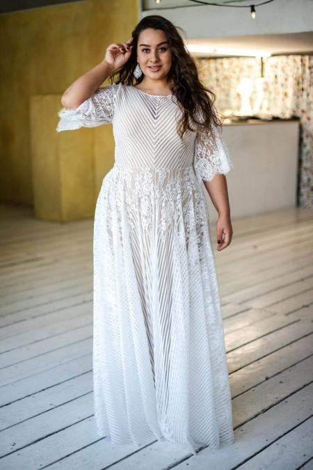 Suknia ślubna plus size Paris 14 z dekoltem w łódkę