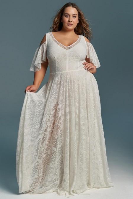 Kremowa suknia ślubna z rękawkami