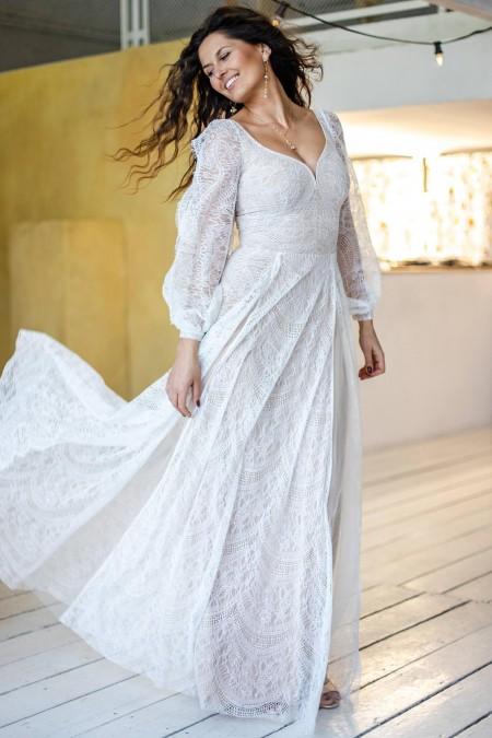 Suknia ślubna z długim rękawem i rozcięciem na nogę Paris 13
