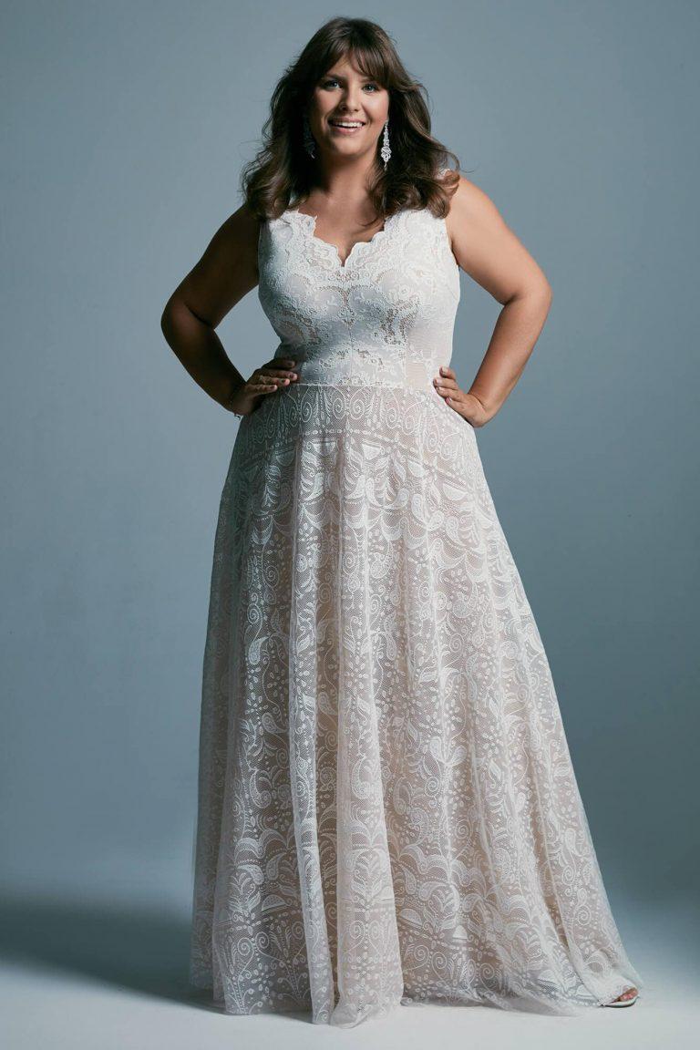 Wyrównująca proporcje suknia ślubna plus size