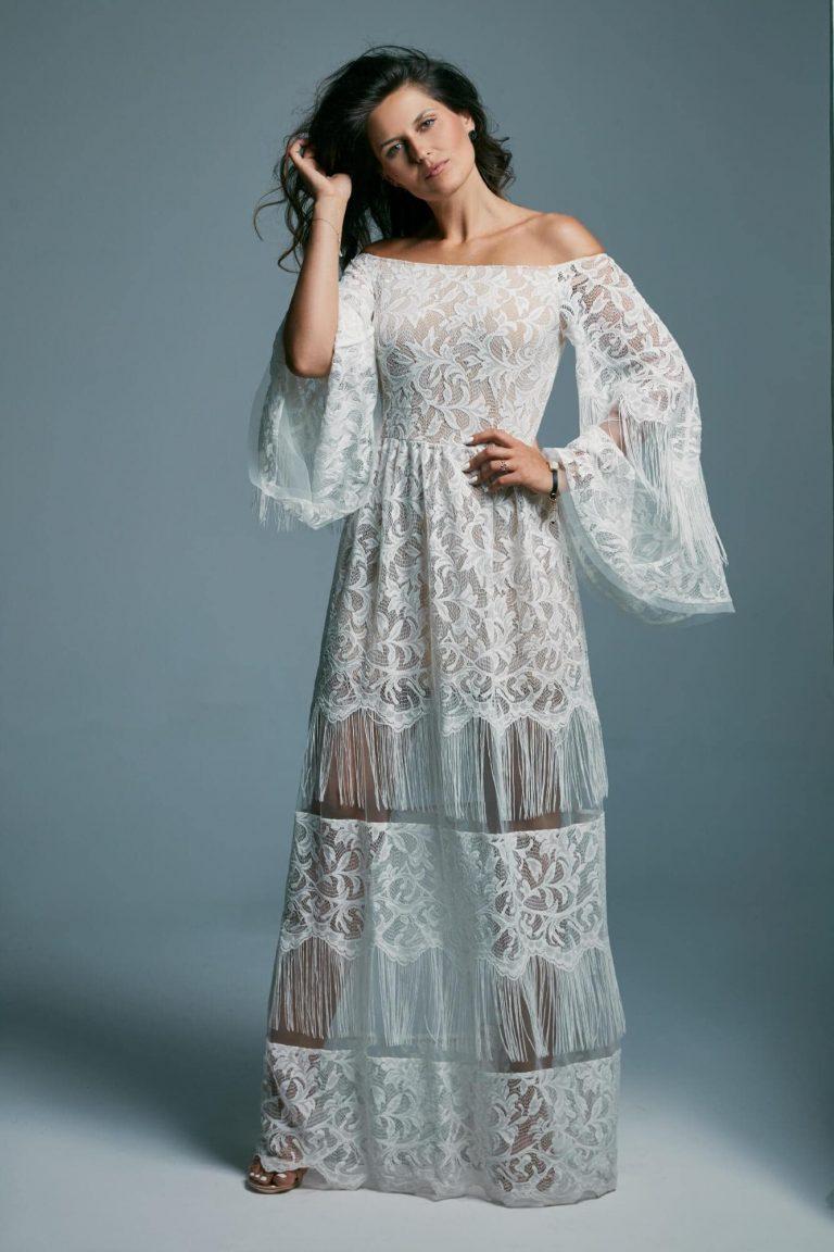 Suknia ślubna zsuwana z ramion
