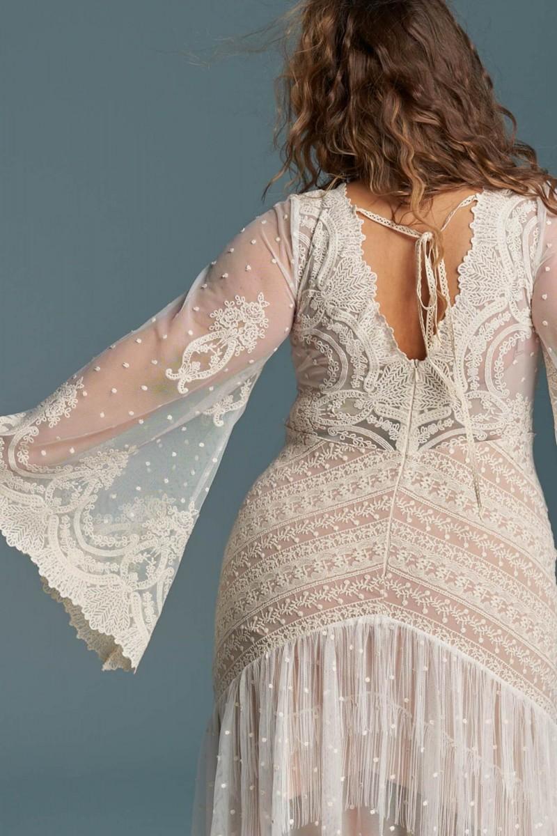 Boho hippie suknia ślubna plus size