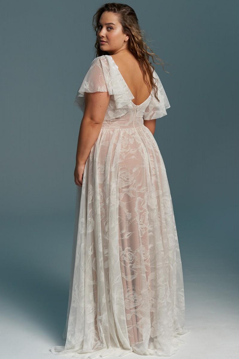 Suknia ślubna plus size z koronki z kwiecistym zdobieniem Porto 50Suknia ślubna plus size z koronki z kwiecistym zdobieniem Porto 50