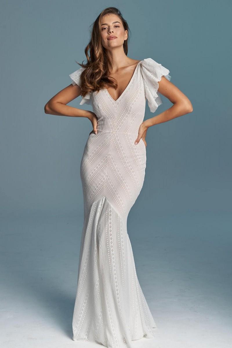 Suknia ślubna syrenka, dopasowana, modelująca sylwetkę