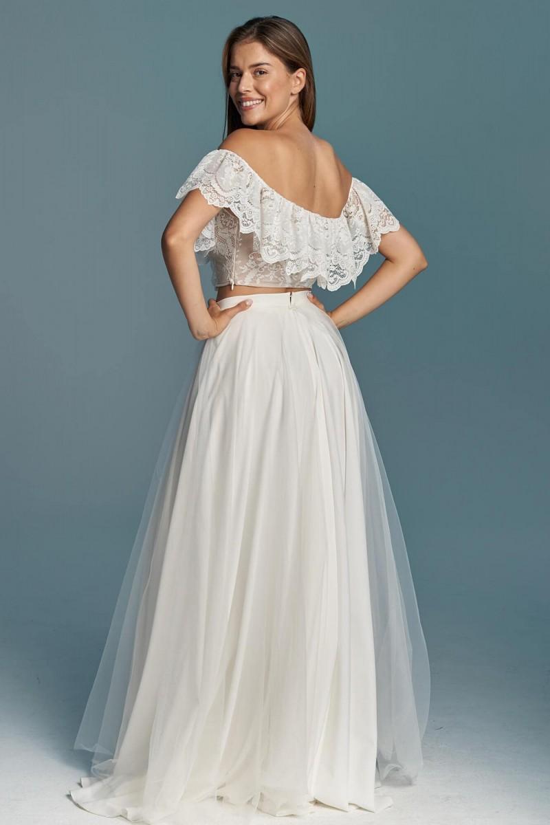 Zwiewna suknia ślubna ze spódnicą z szyfonu i tiulu